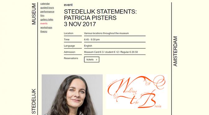 STEDELIJK STATEMENTS: PATRICIA PISTERS 3 NOV 2017